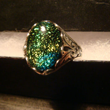 Victorian Style Dichroic Glass Antique Silver Ring- Adjustable (1055)