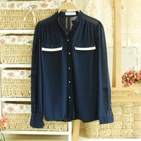 Chiffon shirt blouse shirt  with eye like pocket [156]