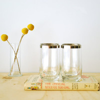 Silver Rimmed Highball Glasses - Dorothy Thorpe Style Glassware