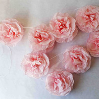 pink tissue paper rose garland / party decorations / wedding decorations