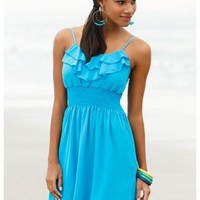 RUFFLE TRIMMED TANK DRESS