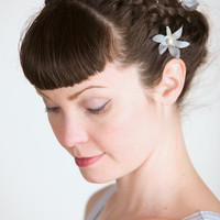 Eirlys Cornflower Blue Flower Hair Clips by sweetlittlesparrow