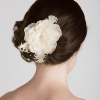 Sabrina Ivory Flower & Feather Bridal by sweetlittlesparrow