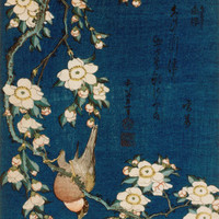 Goldfinch and Cherry Tree, c.1834 Print by Katsushika Hokusai