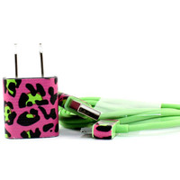 UPDATED Cheetah trim green iphone charger set