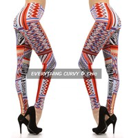Coral Tribal Print leggings