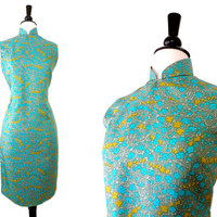 50s Dress // SILK CHEONGSAM // 1950s Blue Floral Sheath Dress