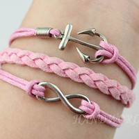 Silvery anchor bracelet infinity karma bracelet pink braid bracelet friendship jewelry bracelet personalized-1097