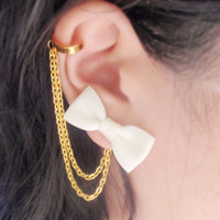 Ivory Bow Gold Chain Ear Cuff Pair by oflovelythings on Etsy