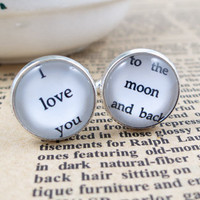 Cufflinks-wedding cufflinks.I love you to the moon and back cufflinks--a best gift for men.