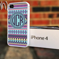 iPhone 4 or 4S case Tribal Pattern Monogram Personalized iPhone case Green