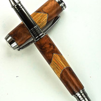 Handcrafted Wooden Pen Hand Turned Thuya Burl and Wenge with Aluminum accents and Black Titanium Hardware 412R