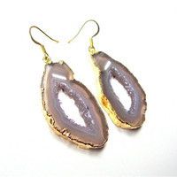 Gold plated agate slice earrings - agate jewelry - agate earrings with 14k gold filled french wires from Sparkle City Jewelry
