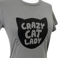Crazy Cat Lady T-Shirt - Grey FUNNY Cat Ladies Shirt - (Available in sizes S, M, L, XL)