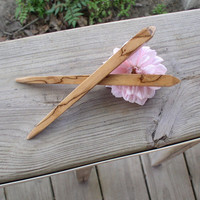 Wood Hair Sticks Obelisk Shaped Spalted Pecan Wood 6 inches U.S. shipping included (222)