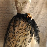 Black lace and nude tulle tutu skirt Mlle by TutusChicBoutique