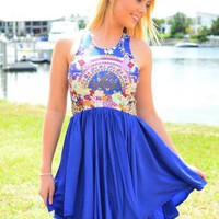 Blue High Neckline Dress with Fitted Floral Print Top