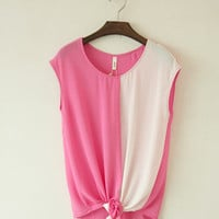 Sleeveless chiffon shirt with cross hem half and half color [205]