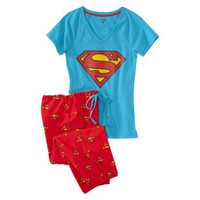 Superman  Juniors Knit Pajama Set - Blue/Red XS