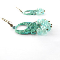 Green & Aqua Boho Chandelier Earrings, Hand Painted