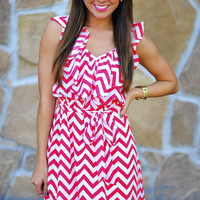 Obsessed With Chevron Dress: Cherry | Hope's