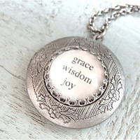 Inspirational locket necklace Antique silver by sweetsimple