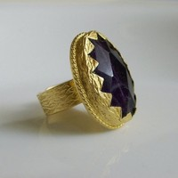 Amethyst stone Oval GOLD RING | moonfairy - Jewelry on ArtFire