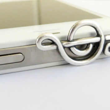 Music Note Cell & iPhone Dust Plug- Universal Headphone Jack Anti Dust Plug- Cellphone/ iPhone Accessories- Silver