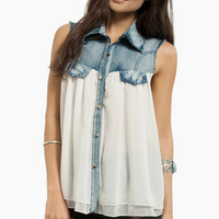 Southern Belle Denim Top $52