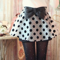 Dot mini skirt with bow tie on waist [268]