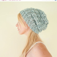 SALE Slouchy hat beanie crocheted  winter blue  wool by CThandmade