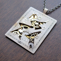 Watch Dial Pendant &quot;Shatter&quot; Reconstructed Watch Parts Necklace Recycled Upcycled Gear Art Steampunk by A Mechanical Mind