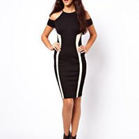 ASOS Bodycon With Mesh Side Panel And Cold Shoulder at asos.com