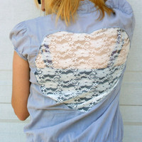 Upcycled womens clothing lace heart cut out  top, shirt, tunic