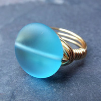 Sea Glass Ring  Sky Blue Gold Wire Wrapped by SherryKayDesigns