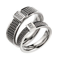 Korean Fashion Titanium Steel Matching Knitting Couple Rings Valentines Gift - GULLEITRUSTMART.COM