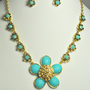 Vintage Aqua Blue Necklace, Flower motif with shiny Crystal stones and faceted Aqua Blue Gem.