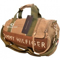 Tommy Hilfiger Brown and Green Small Duffel/Travel Bag