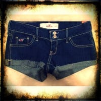 HOLLISTER BY ABERCROMBIE CAPISTRANO DARK WASH DESTROYED SUMMER SHORTS BETTY'S SIZE 1 (W25)