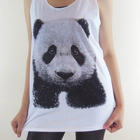 Panda Shirt -- Panda T-Shirt Animal T-Shirt Animal Shirt Women Shirt Women T-Shirt Tank Top Women Tunic Vest Sleeveless White T-Shirt Size M