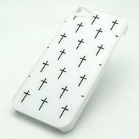 88 WHITE Snap On Case IPHONE 5 Plastic Cover MINI CROSSES icthus Christian Jesus