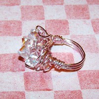 Pink wire wrapped ring with Swarvoski bicone crystals | masalajewel - Jewelry on ArtFire