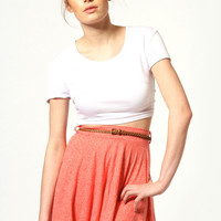 Samantha Slub Marl Skater Skirt With Belt