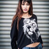 Lion sweatshirt , Lion Sweater ,Lion Pullover Sweater  Animal Print Bat Style Half Body Long sleeve In black .