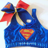 Super Steel Metallic Sports Bra and Bow Set by SparkleBowsCheer