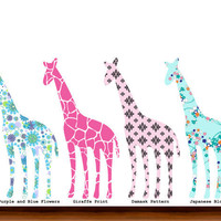 Pattern Giraffe Decal Vinyl Wall Decal Sticker by WhimsyWallArt