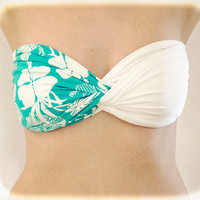 Spandex Bandeau Spandex Beach Bandeau White - Floral Turquoise, Twisted Spandex, Strapless Bra, Bandeau Top, Bandeau Bikini