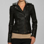 Buffalo Women's Black Hooded Motorcycle Jacket