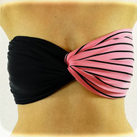 Spandex Bandeau Spandex Beach Bandeau Striped Pink  by 2BeRoxy