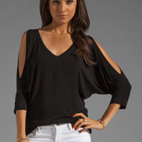 Michael Stars 3/4 Sleeve Cold Shoulder V Neck Top in Black from REVOLVEclothing.com